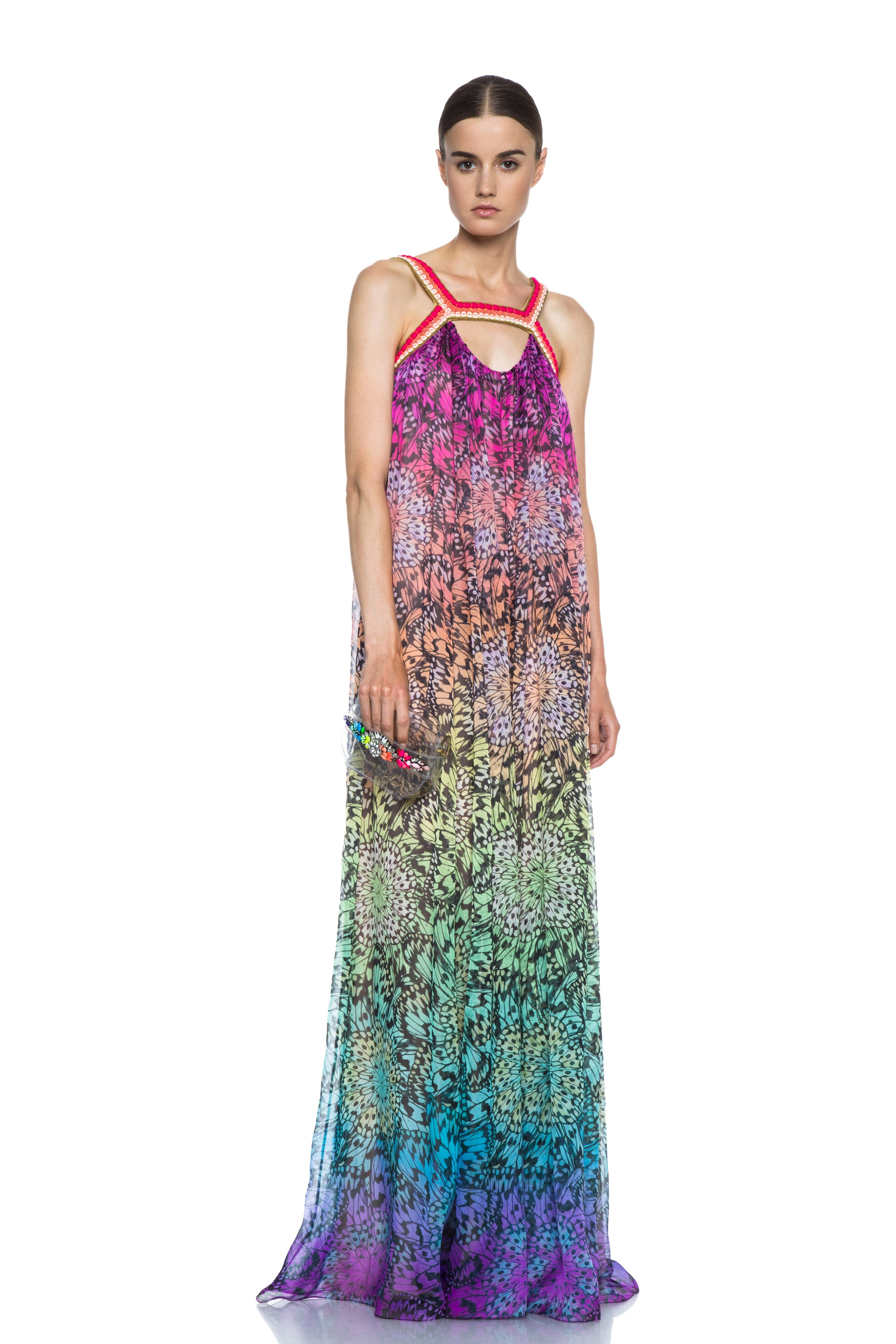 Image 5 of Matthew Williamson Butterfly Mousseline Embroidered Silk Gown in Rainbow