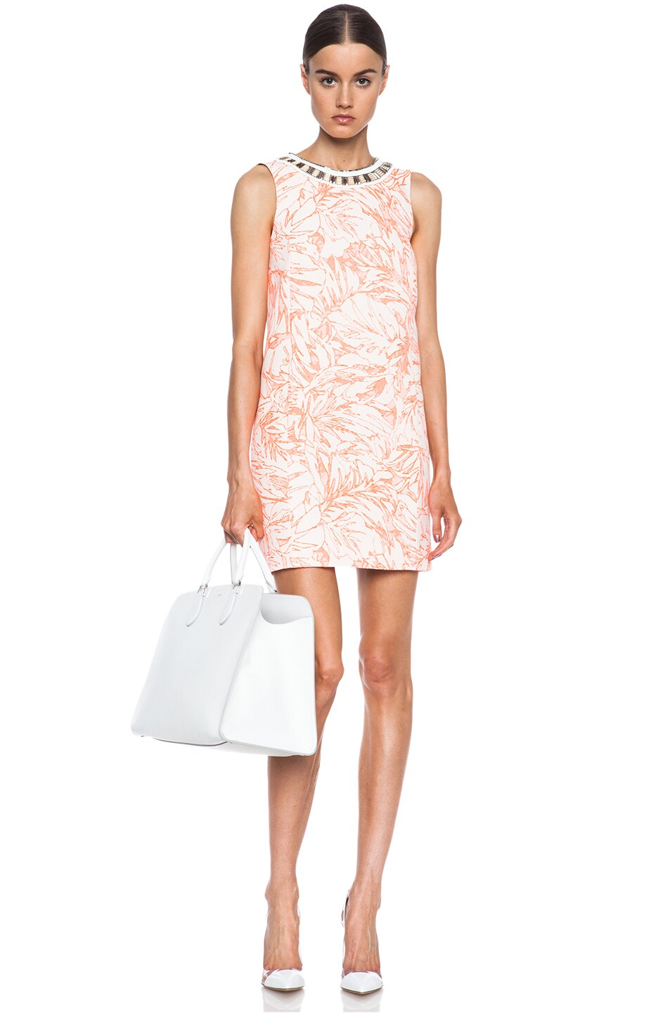 Image 1 of Matthew Williamson Botanical Cotton-Blend Shift Dress with Embroidery in Fluro Orange