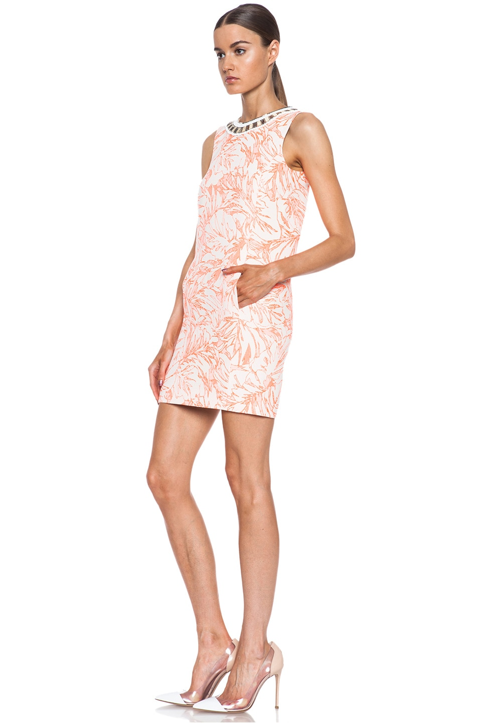 Image 2 of Matthew Williamson Botanical Cotton-Blend Shift Dress with Embroidery in Fluro Orange