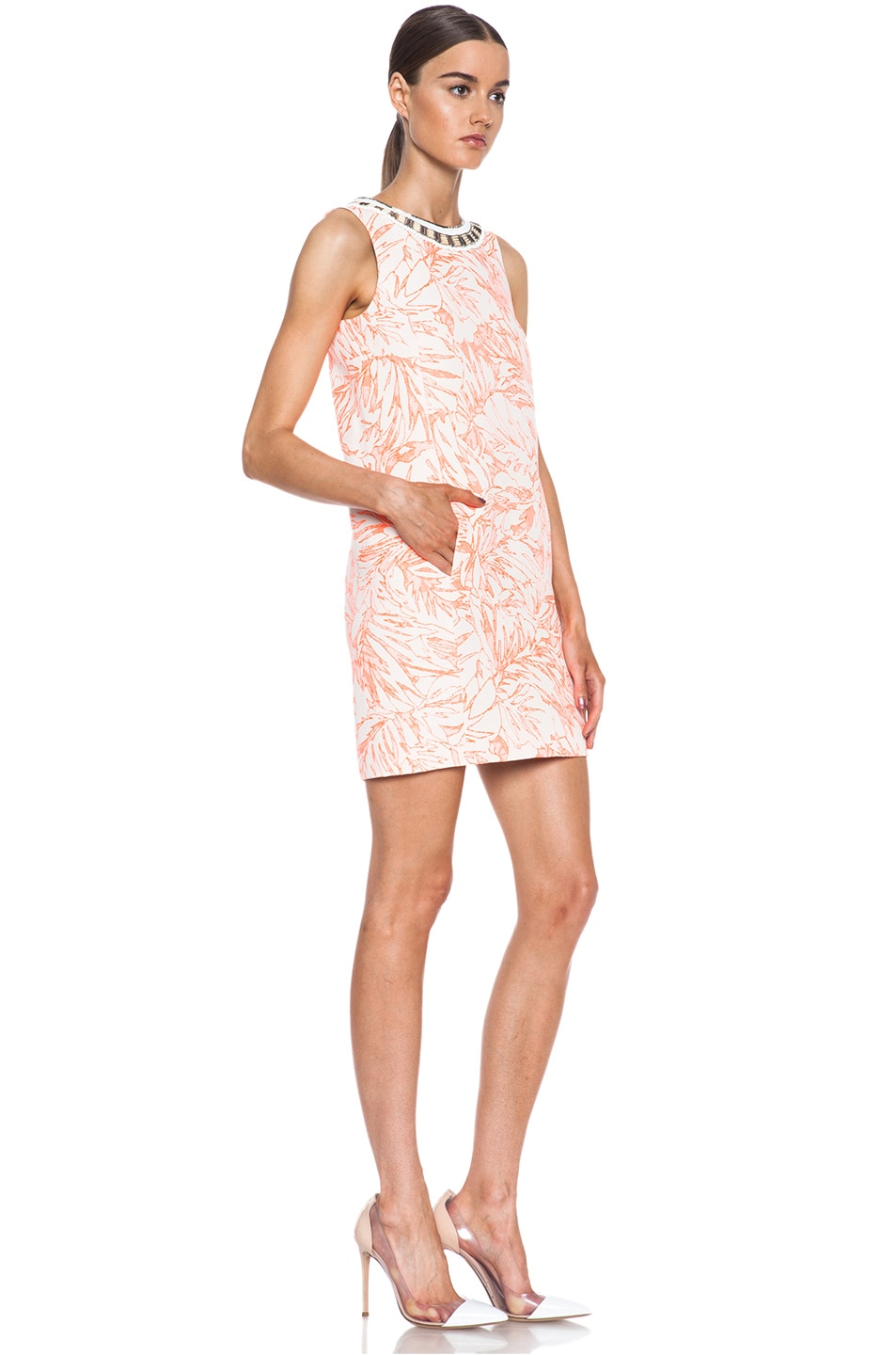 Image 3 of Matthew Williamson Botanical Cotton-Blend Shift Dress with Embroidery in Fluro Orange