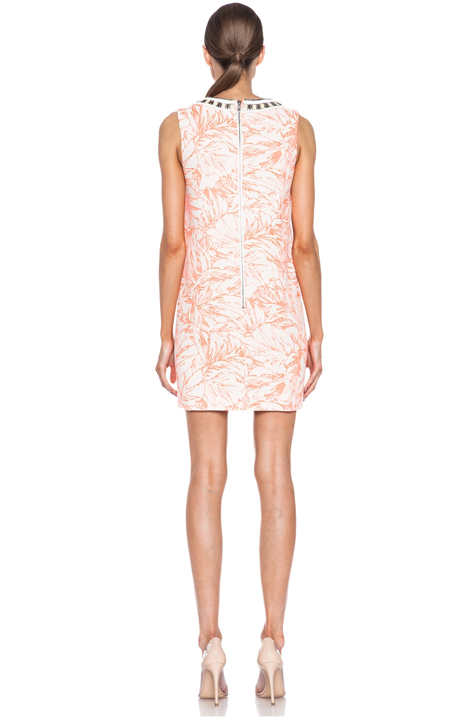 Image 4 of Matthew Williamson Botanical Cotton-Blend Shift Dress with Embroidery in Fluro Orange