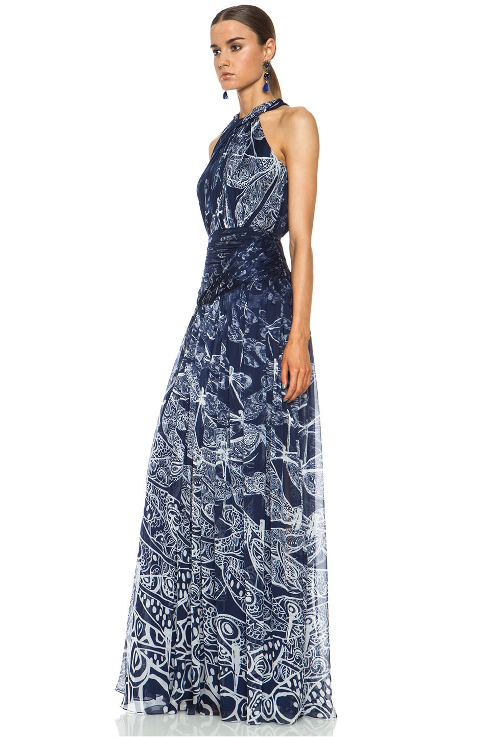 Image 2 of Matthew Williamson Twisted Collar Dragonfly Silk Gown in Navy