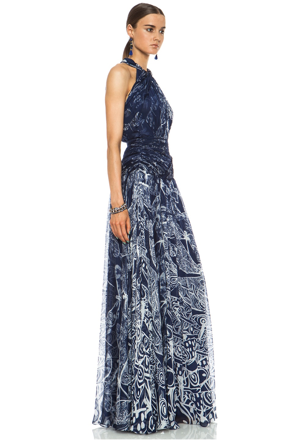 Image 3 of Matthew Williamson Twisted Collar Dragonfly Silk Gown in Navy