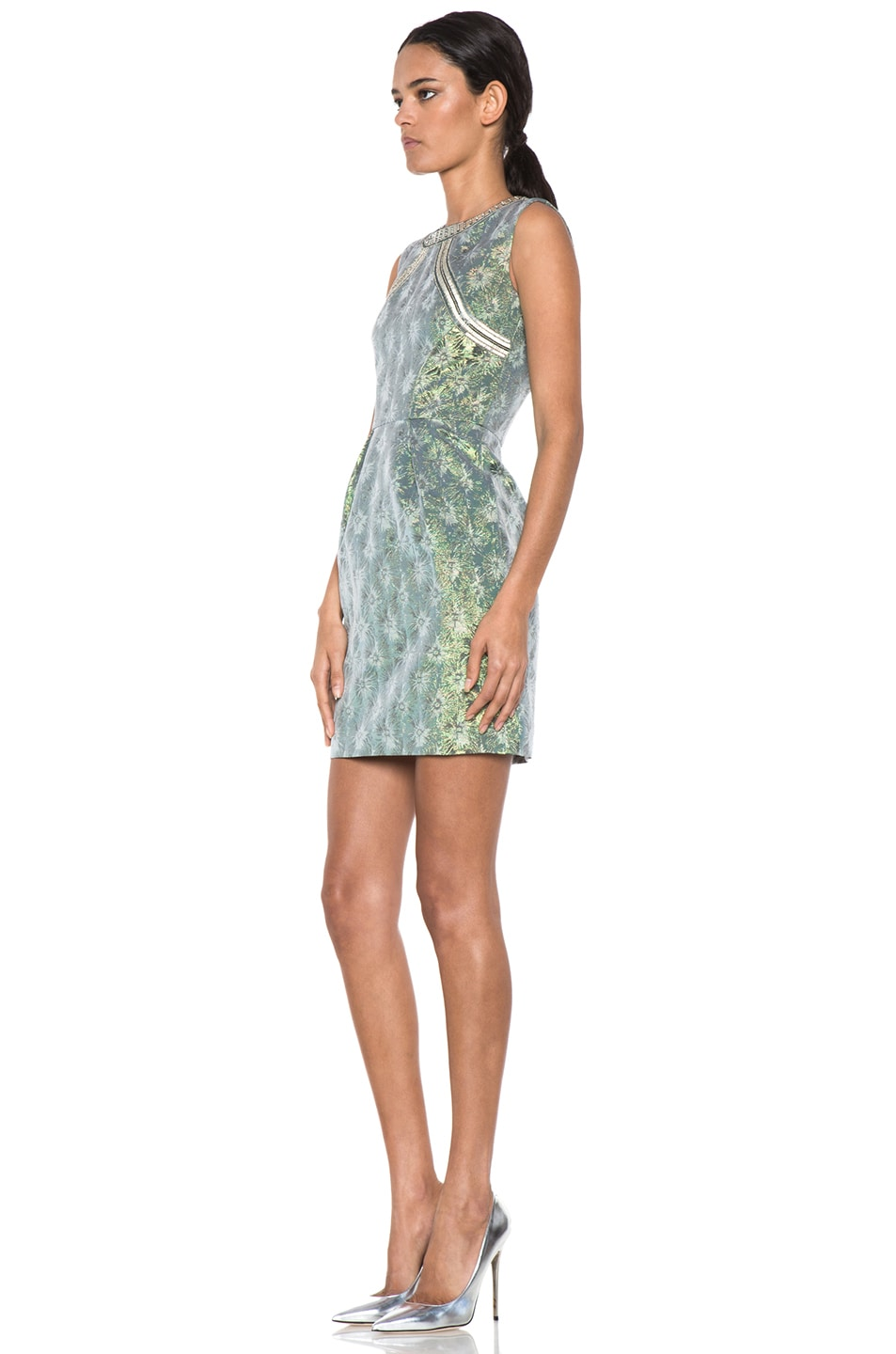 Image 2 of Matthew Williamson Iridescent Floral Shift Dress in Green
