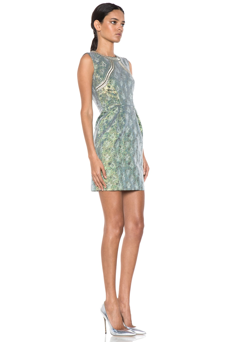 Image 3 of Matthew Williamson Iridescent Floral Shift Dress in Green