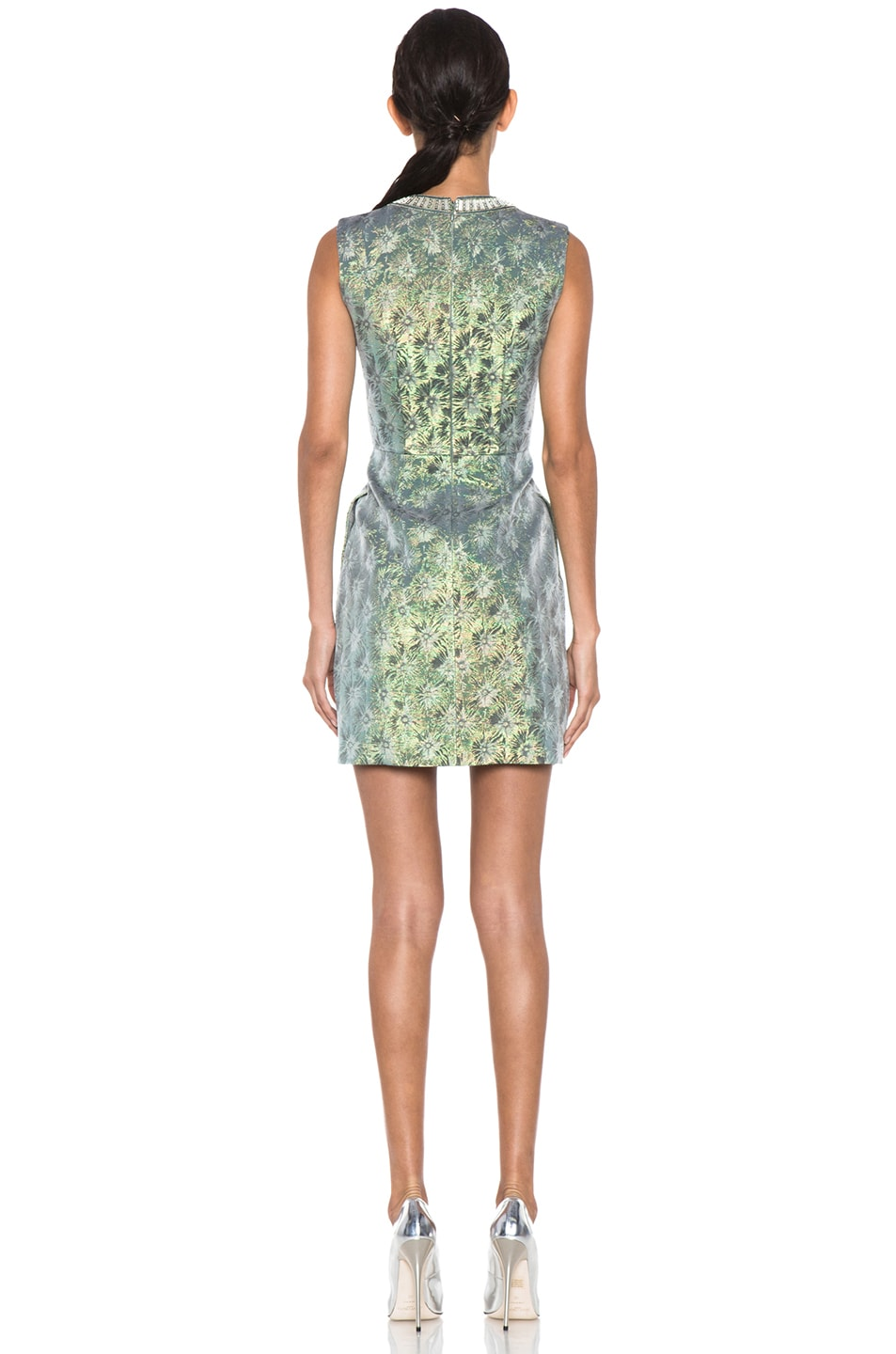 Image 4 of Matthew Williamson Iridescent Floral Shift Dress in Green