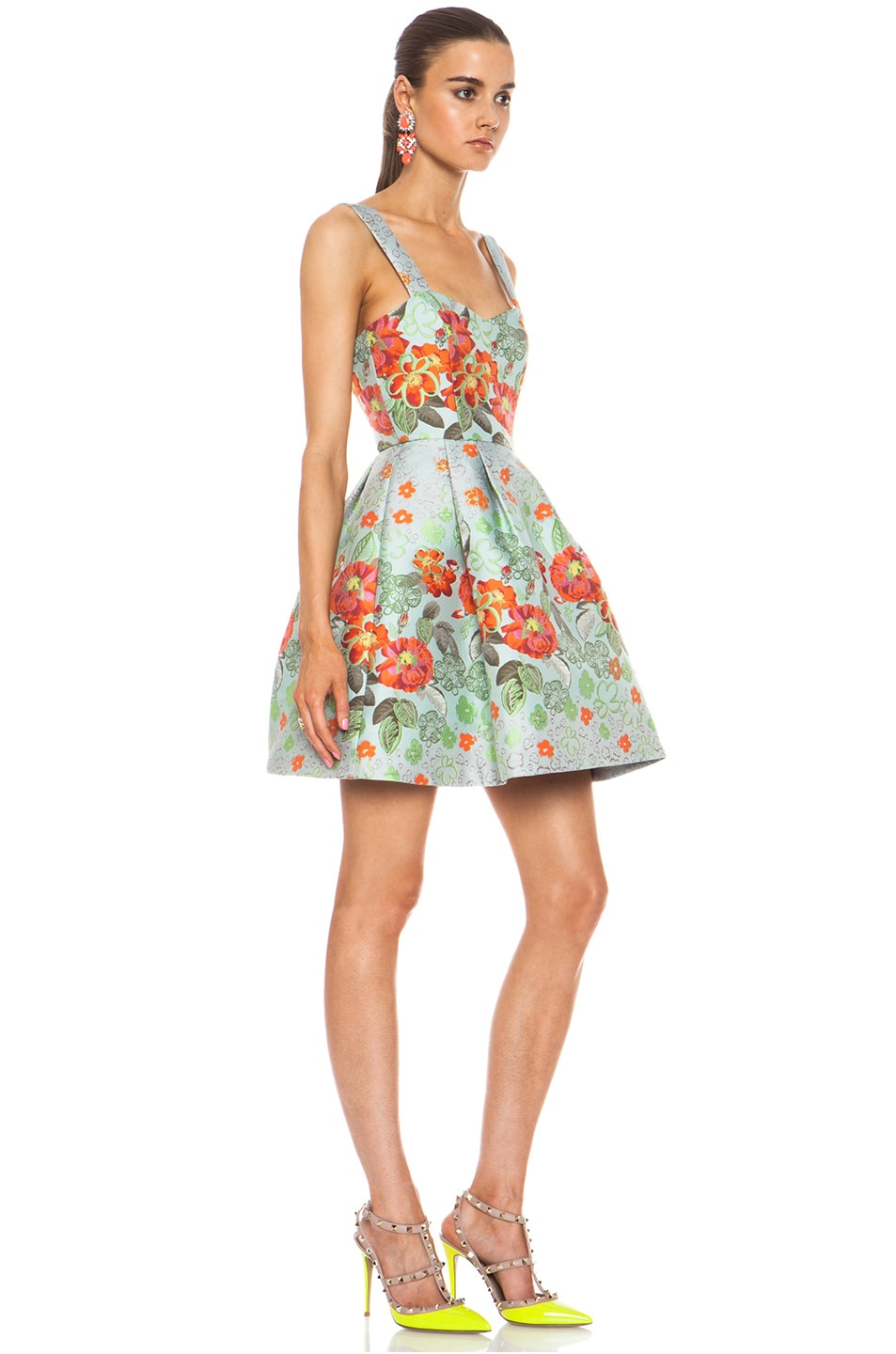 Image 3 of Matthew Williamson Floral Garden Poly-Blend Brocade Dress in Eau de Nil