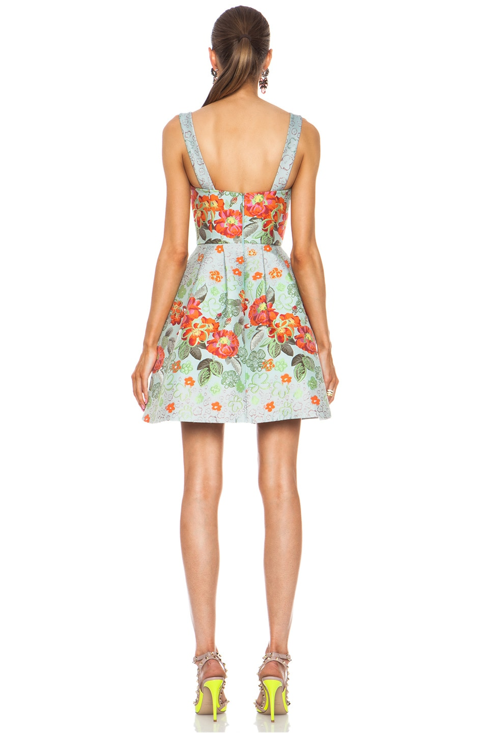 Image 4 of Matthew Williamson Floral Garden Poly-Blend Brocade Dress in Eau de Nil
