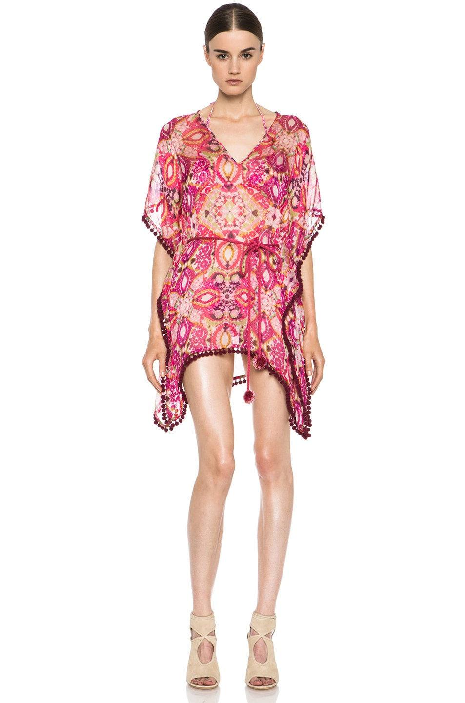 Image 1 of Matthew Williamson Tula Lace Mousseline Kaftan in Pink
