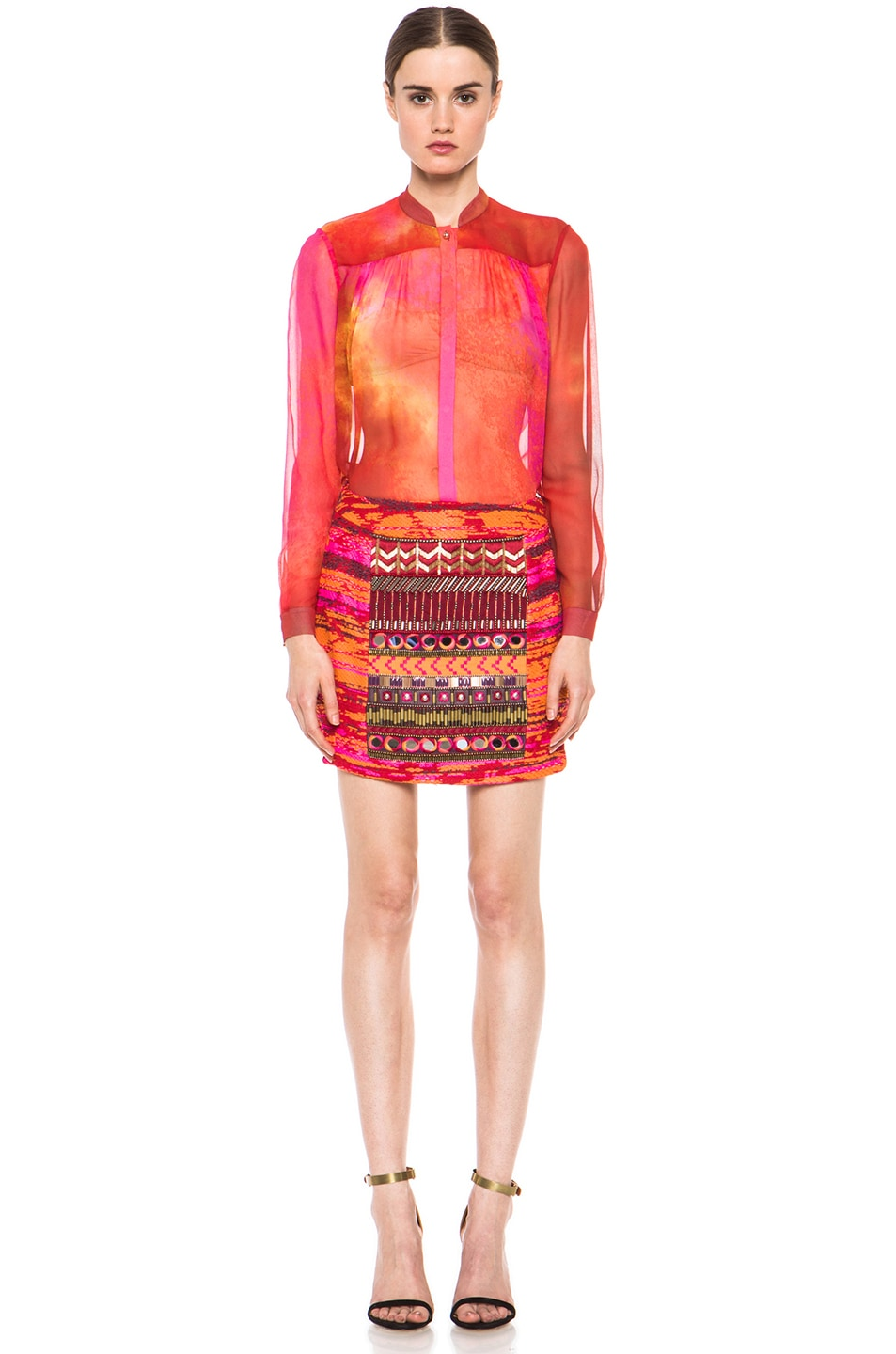 Image 5 of Matthew Williamson Taj Tapestry Mini Skirt in Ruby