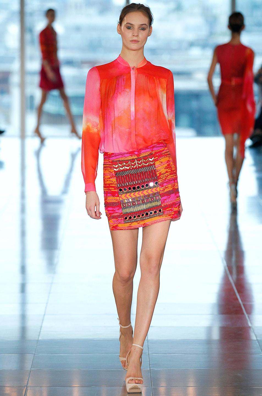 Image 6 of Matthew Williamson Taj Tapestry Mini Skirt in Ruby