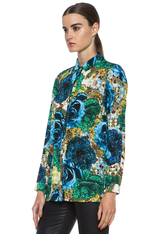 Image 2 of Matthew Williamson Precious Rose Silk Blouse in Blue