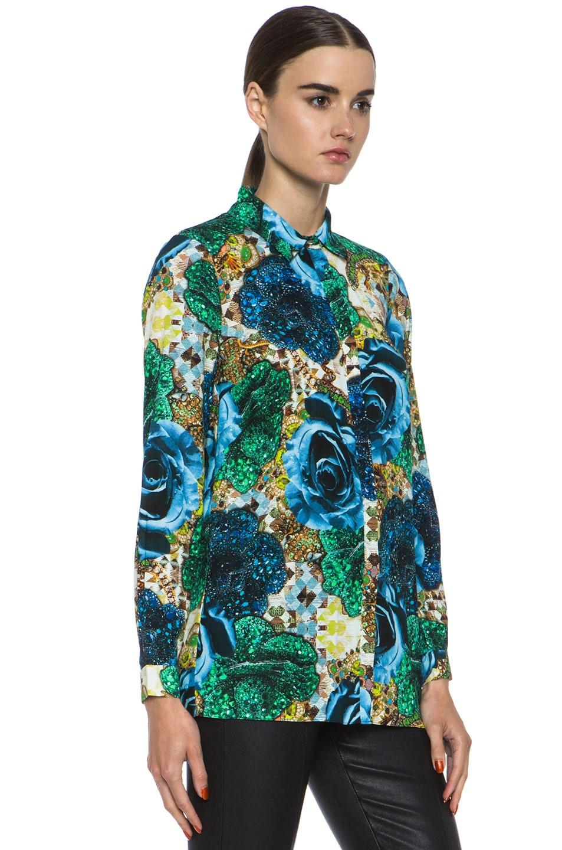 Image 3 of Matthew Williamson Precious Rose Silk Blouse in Blue