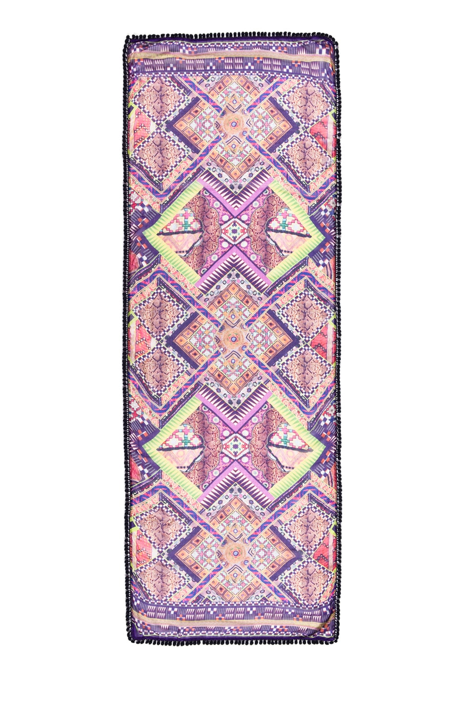 Image 1 of Matthew Williamson Raj Patchwork Pom Pom Scarf in Pink