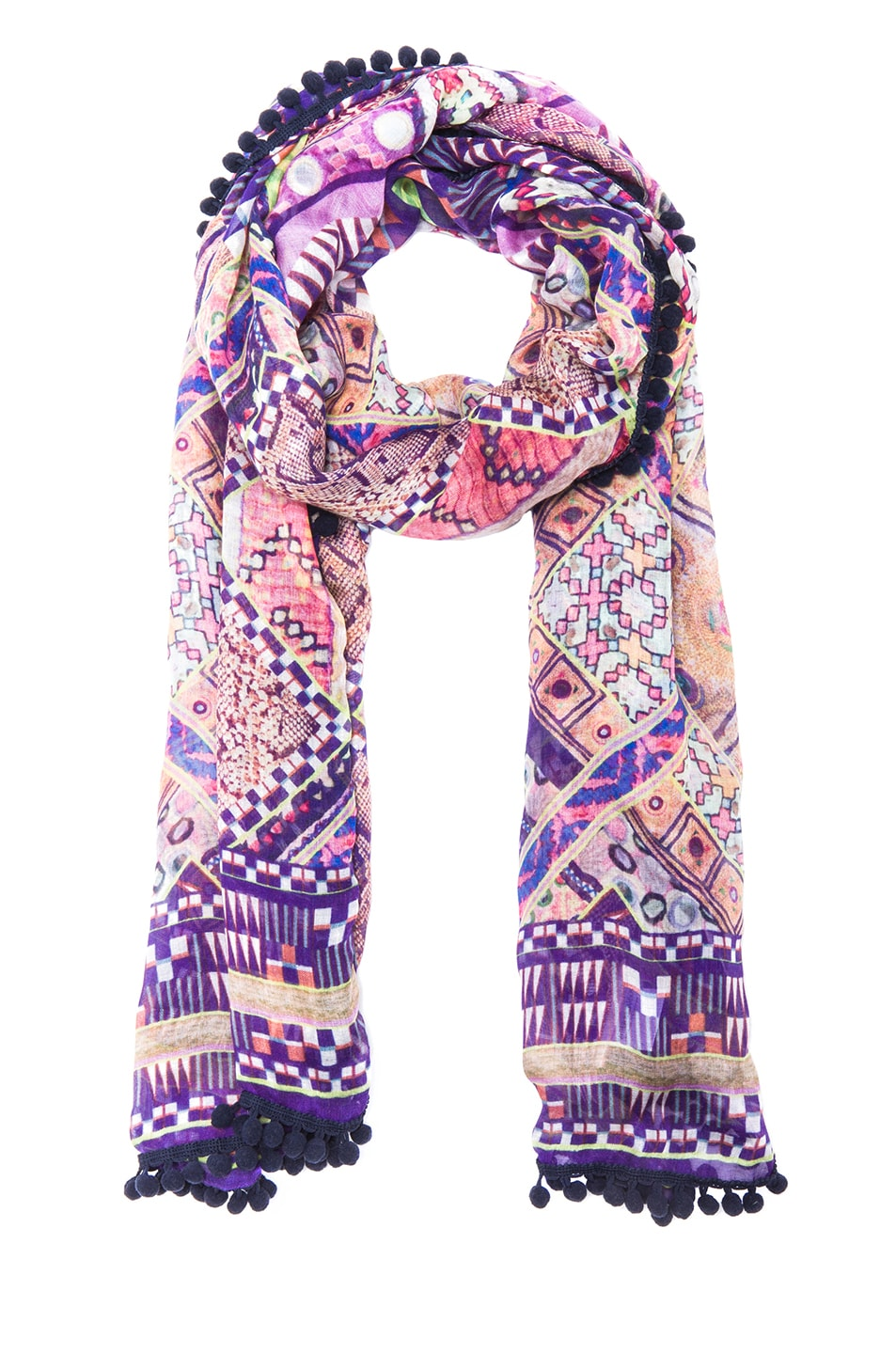 Image 2 of Matthew Williamson Raj Patchwork Pom Pom Scarf in Pink