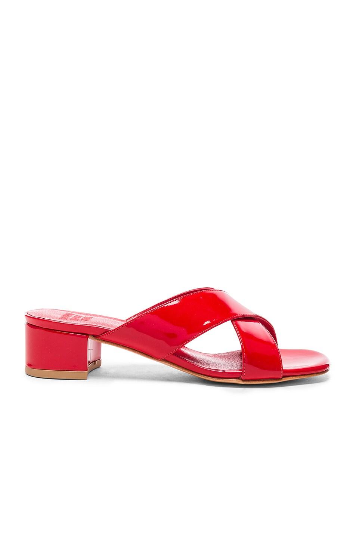 Image 1 of Maryam Nassir Zadeh Patent Leather Lauren Slide Heels in Poppy Patent