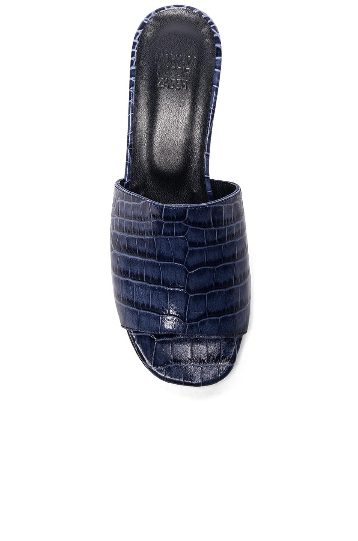 Image 4 of Maryam Nassir Zadeh Leather Sophie Slide Heels in Navy Faux Croc