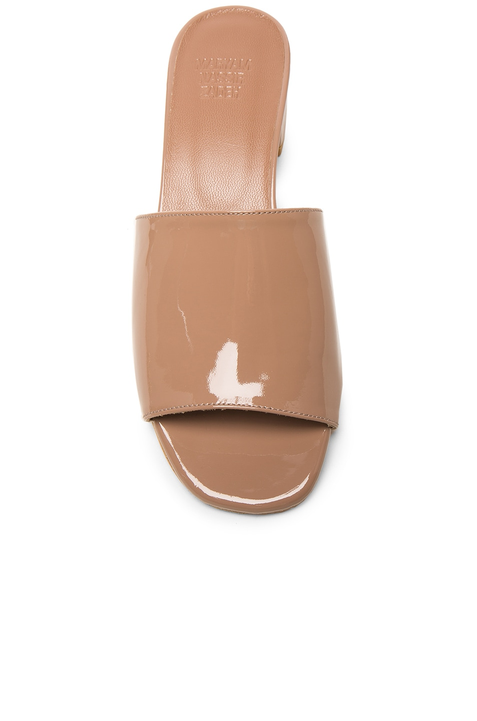 MARYAM NASSIR ZADEH High Shine Sandals in Taupe Patent