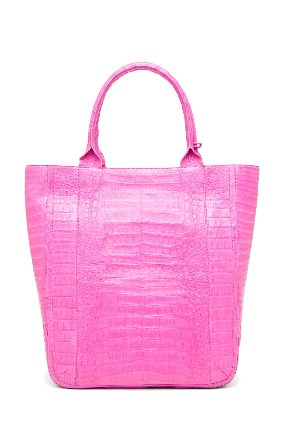 Image 2 of Nancy Gonzalez Crocodile Leaf Tote in Fuchsia