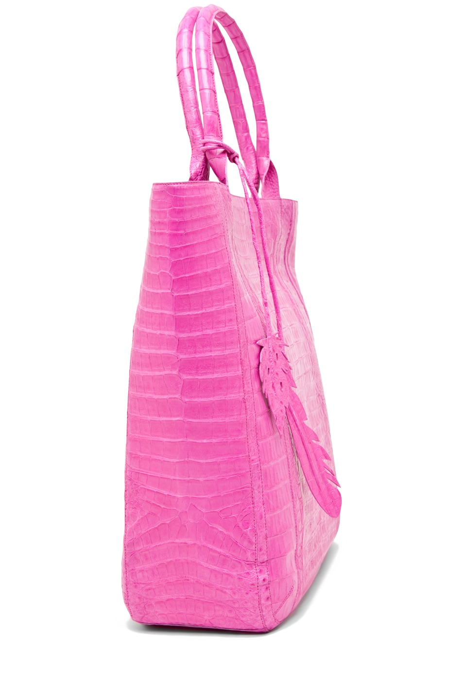 Image 3 of Nancy Gonzalez Crocodile Leaf Tote in Fuchsia