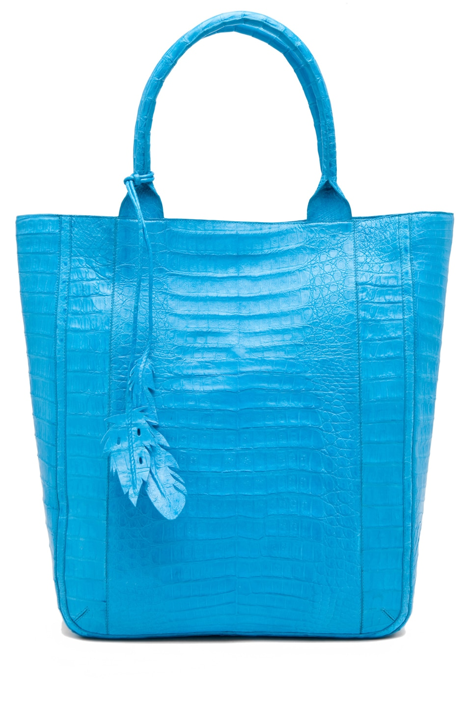 Image 1 of Nancy Gonzalez Crocodile Leaf Tote in Blue
