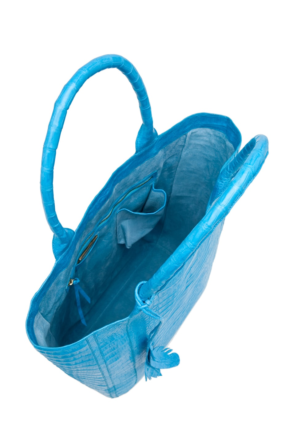 Image 4 of Nancy Gonzalez Crocodile Leaf Tote in Blue