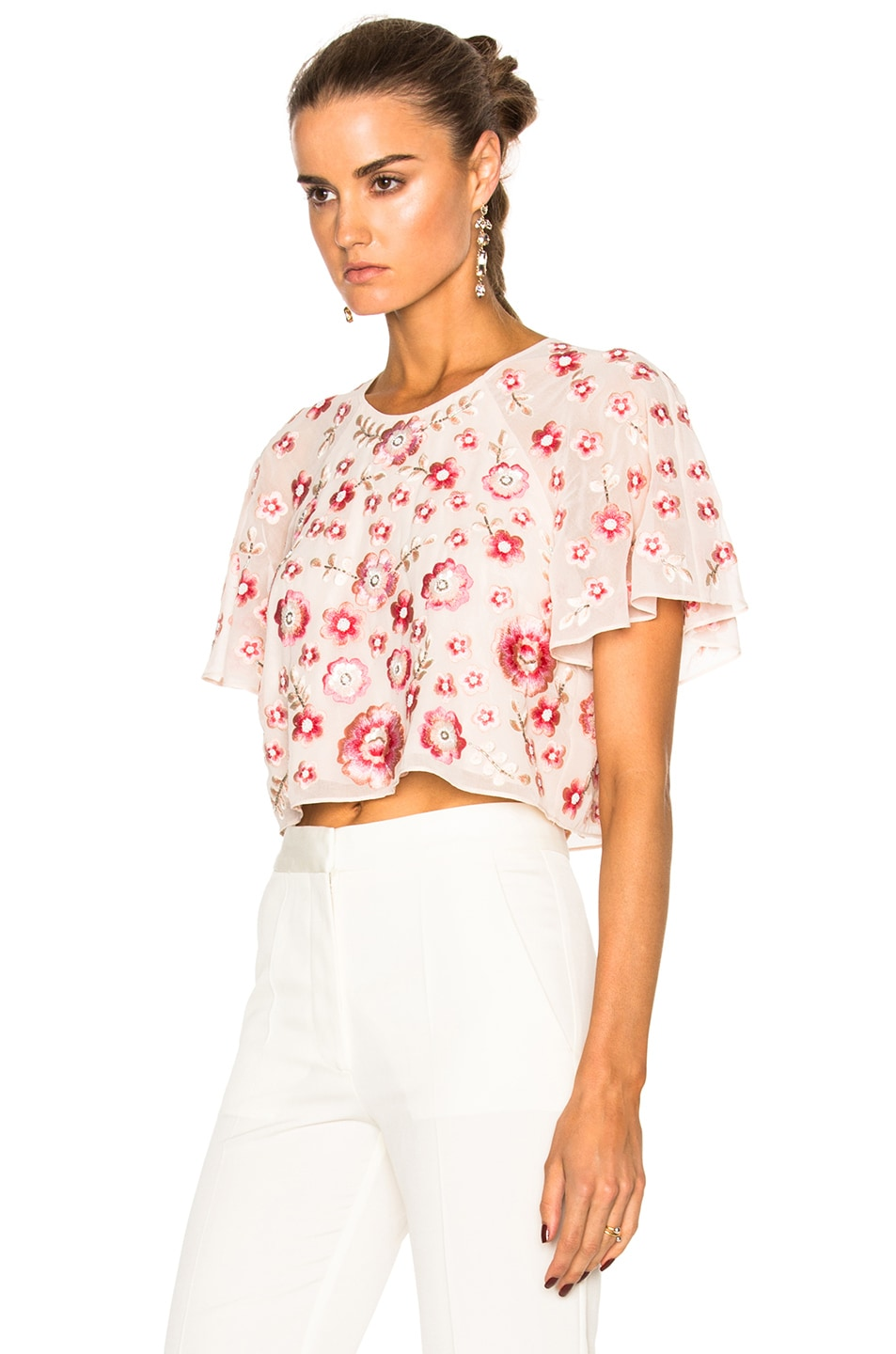 NEEDLE U0026 THREAD Cherry Blossom Embroidered Blouse In Petal Pink | ModeSens
