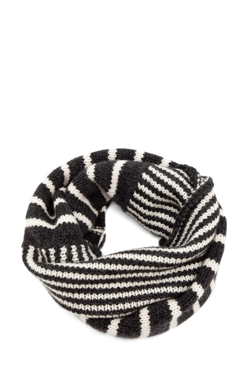 Image 1 of Neil Barrett Mixed Striped Snood in Graphite Melange/Snow