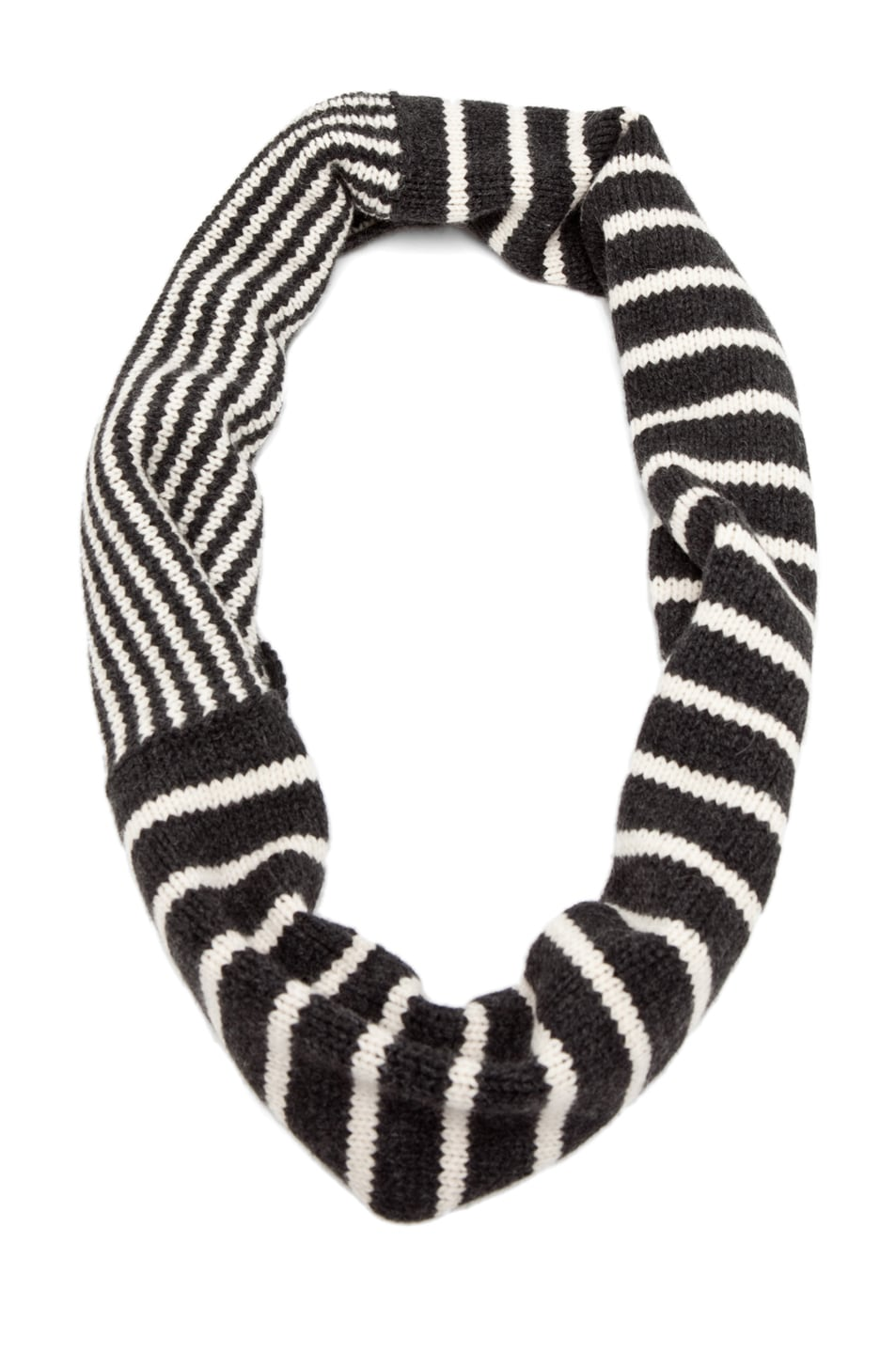 Image 2 of Neil Barrett Mixed Striped Snood in Graphite Melange/Snow