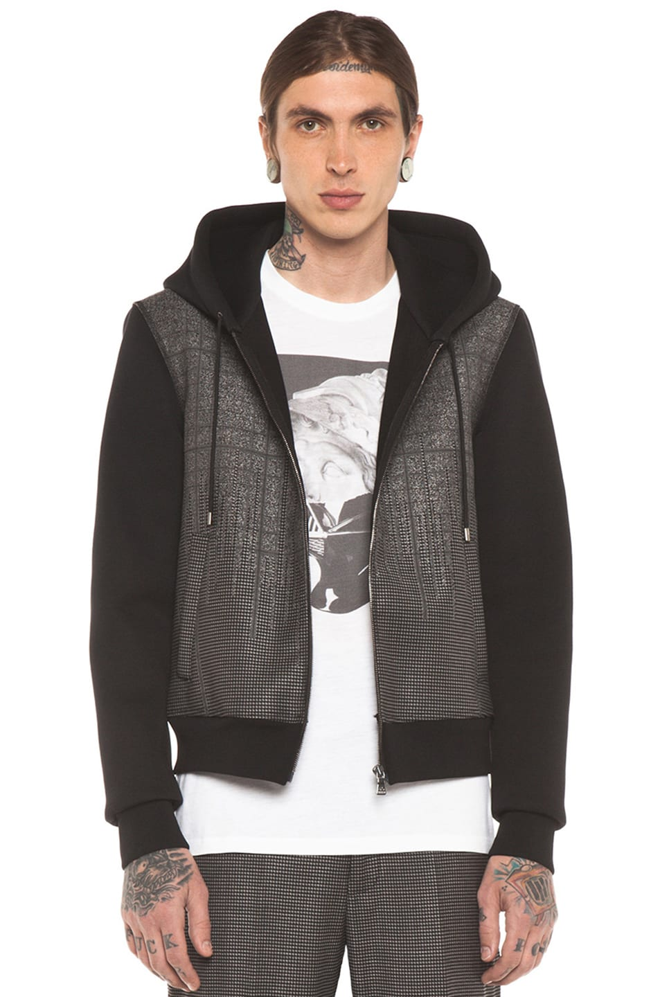 Image 1 of Neil Barrett Patterned Pocket Zip Hoodie in Charcoal