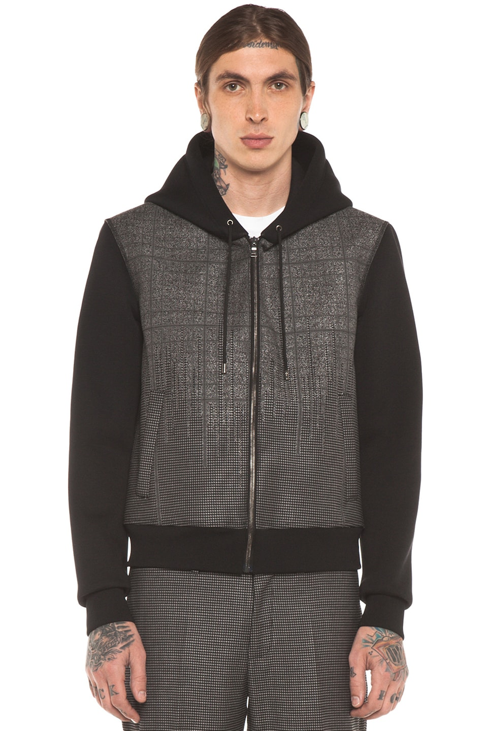 Image 2 of Neil Barrett Patterned Pocket Zip Hoodie in Charcoal