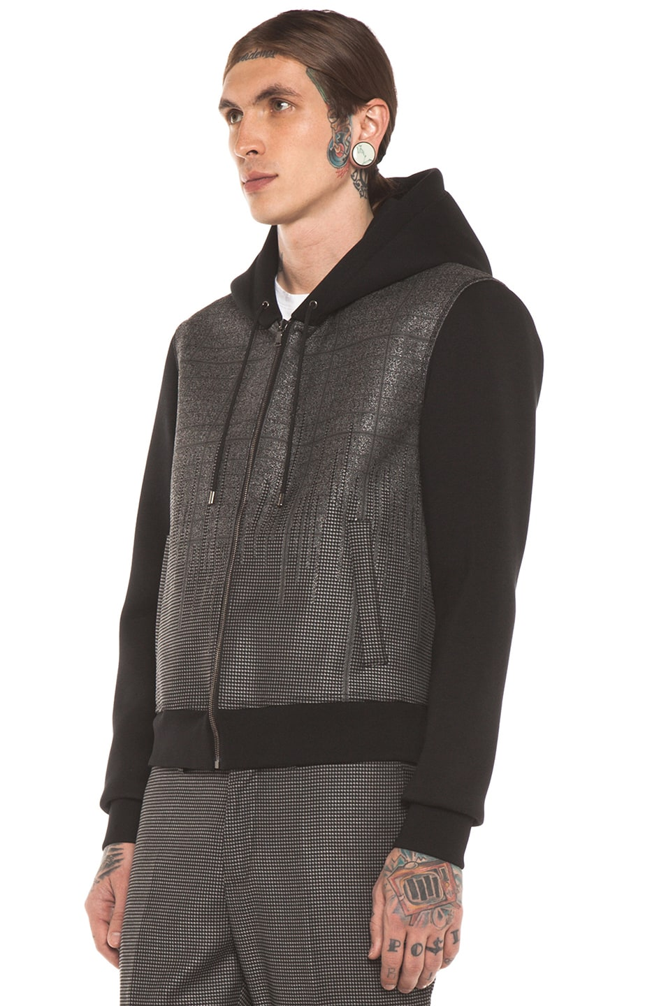 Image 3 of Neil Barrett Patterned Pocket Zip Hoodie in Charcoal
