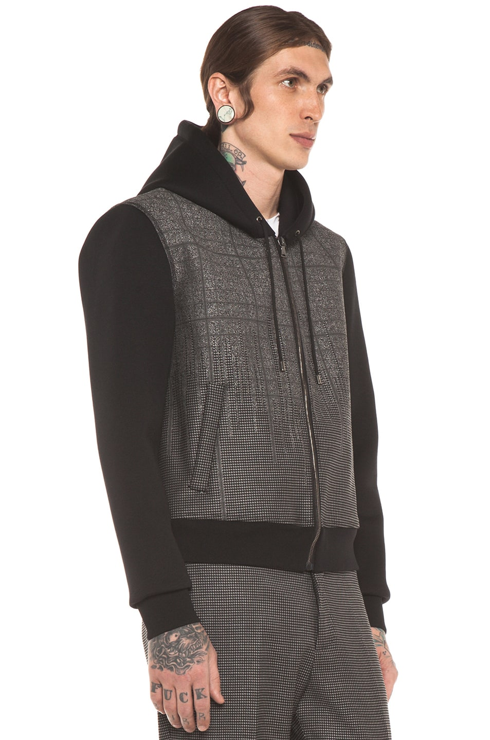 Image 4 of Neil Barrett Patterned Pocket Zip Hoodie in Charcoal