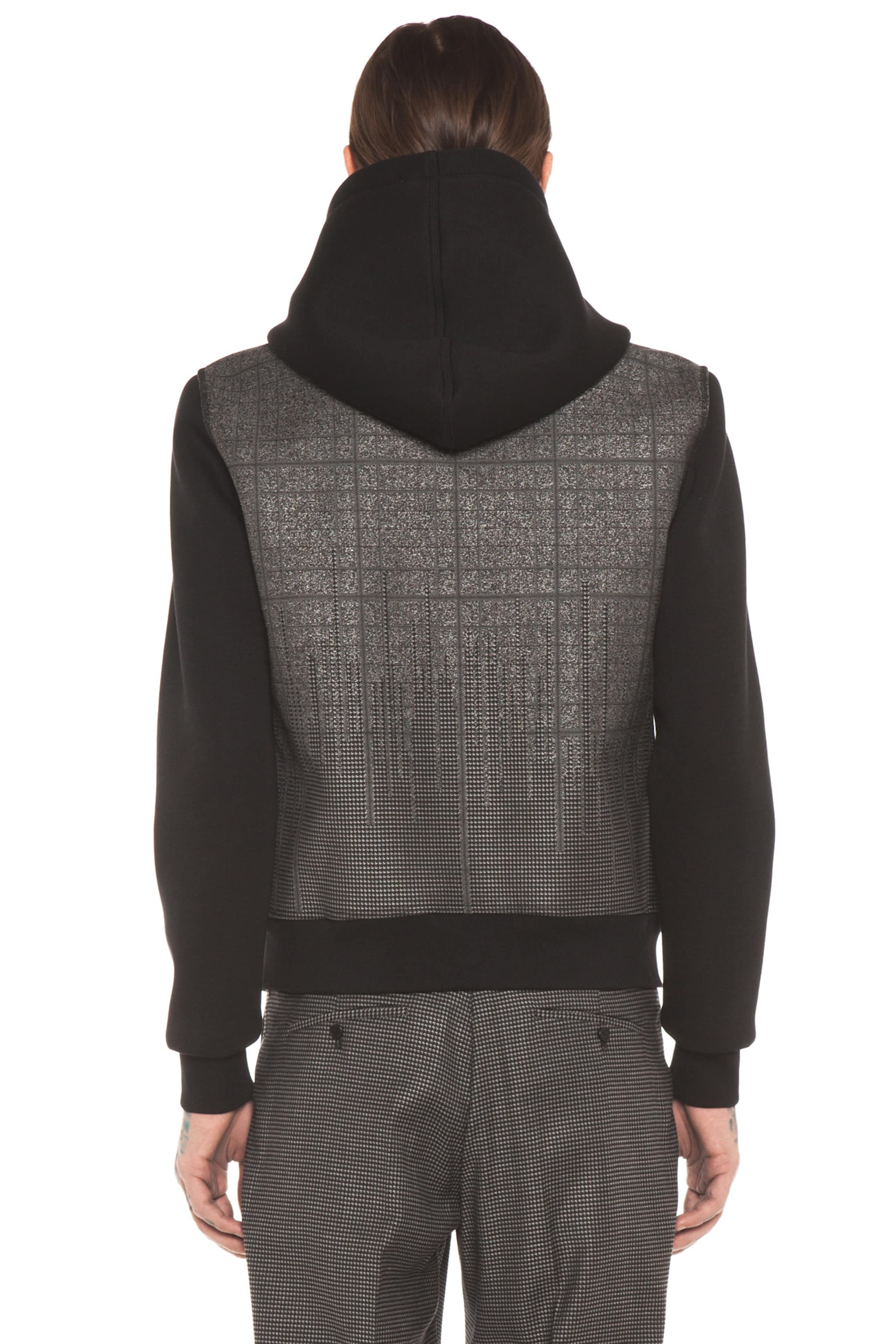 Image 5 of Neil Barrett Patterned Pocket Zip Hoodie in Charcoal