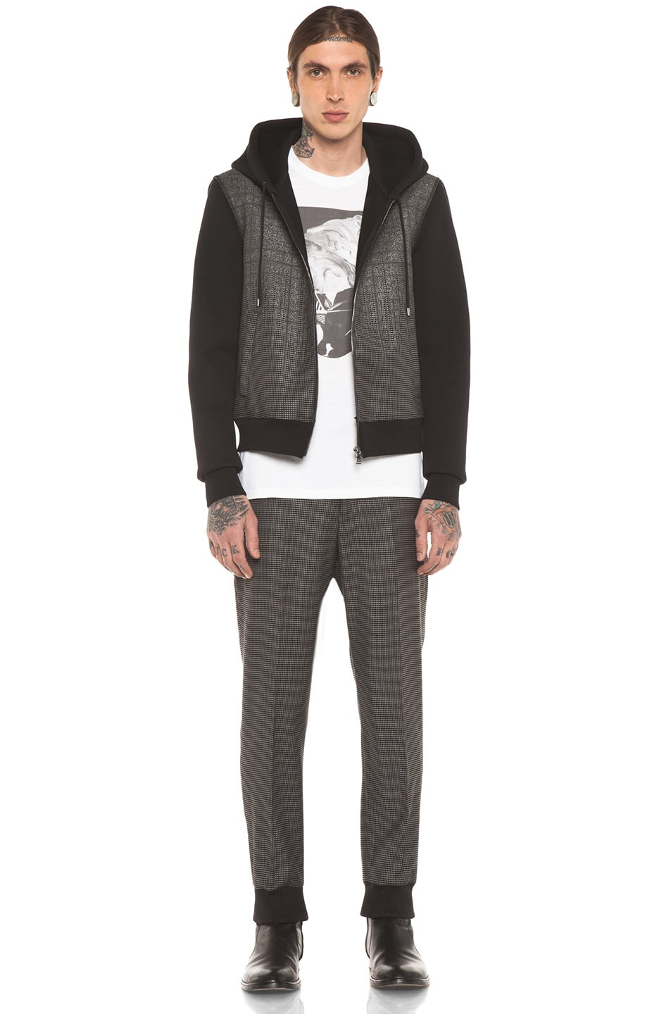 Image 6 of Neil Barrett Patterned Pocket Zip Hoodie in Charcoal