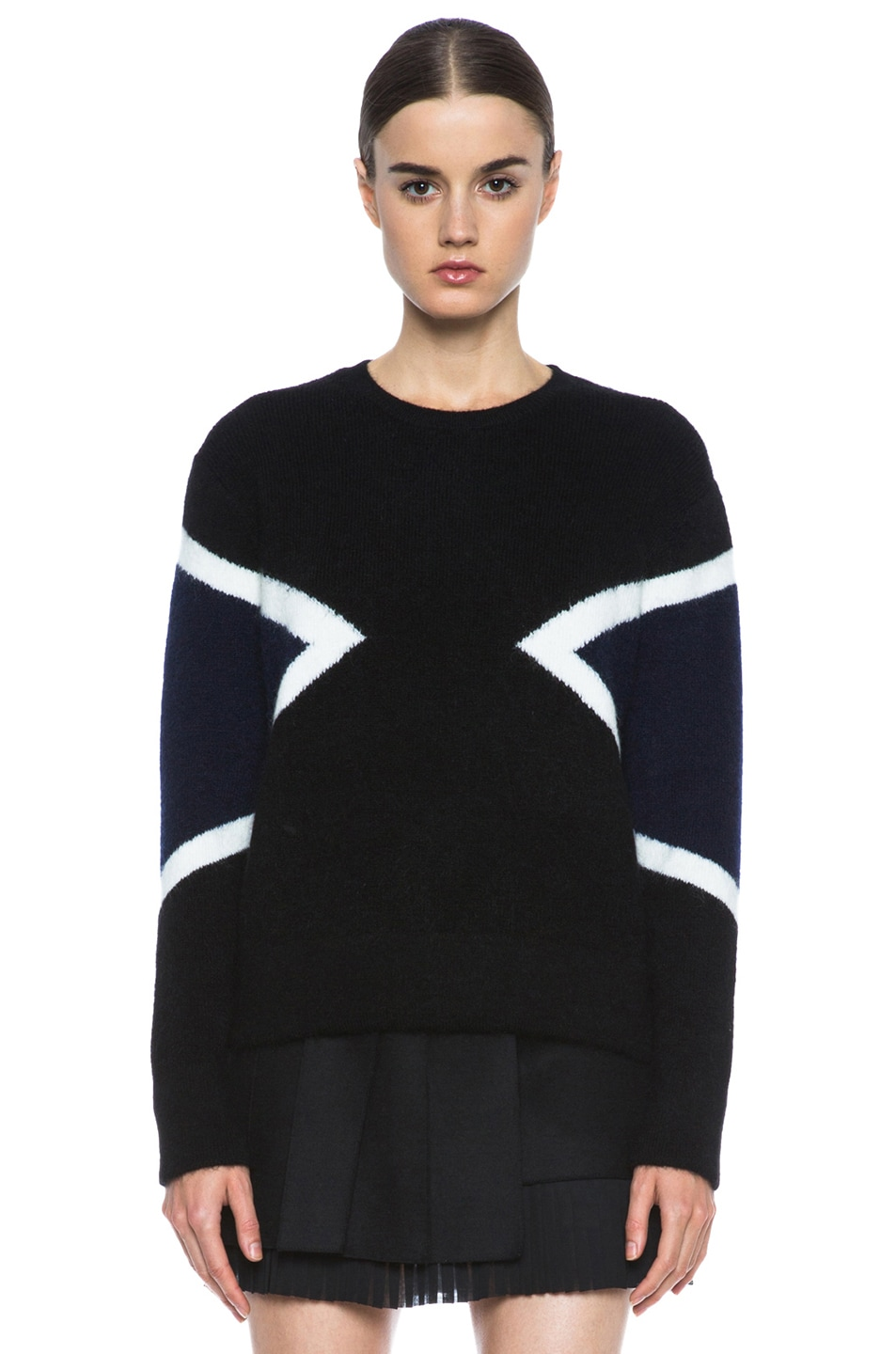 Image 1 of Neil Barrett Modernist Mohair-Blend Crew Neck Knit in Black & Navy