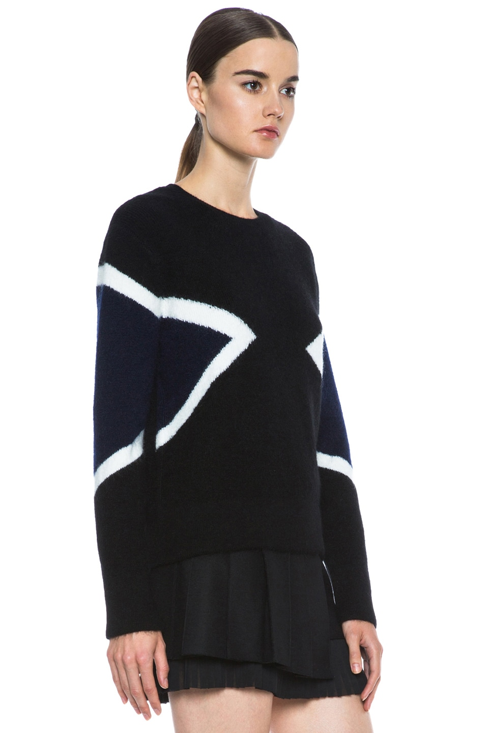 Image 3 of Neil Barrett Modernist Mohair-Blend Crew Neck Knit in Black & Navy