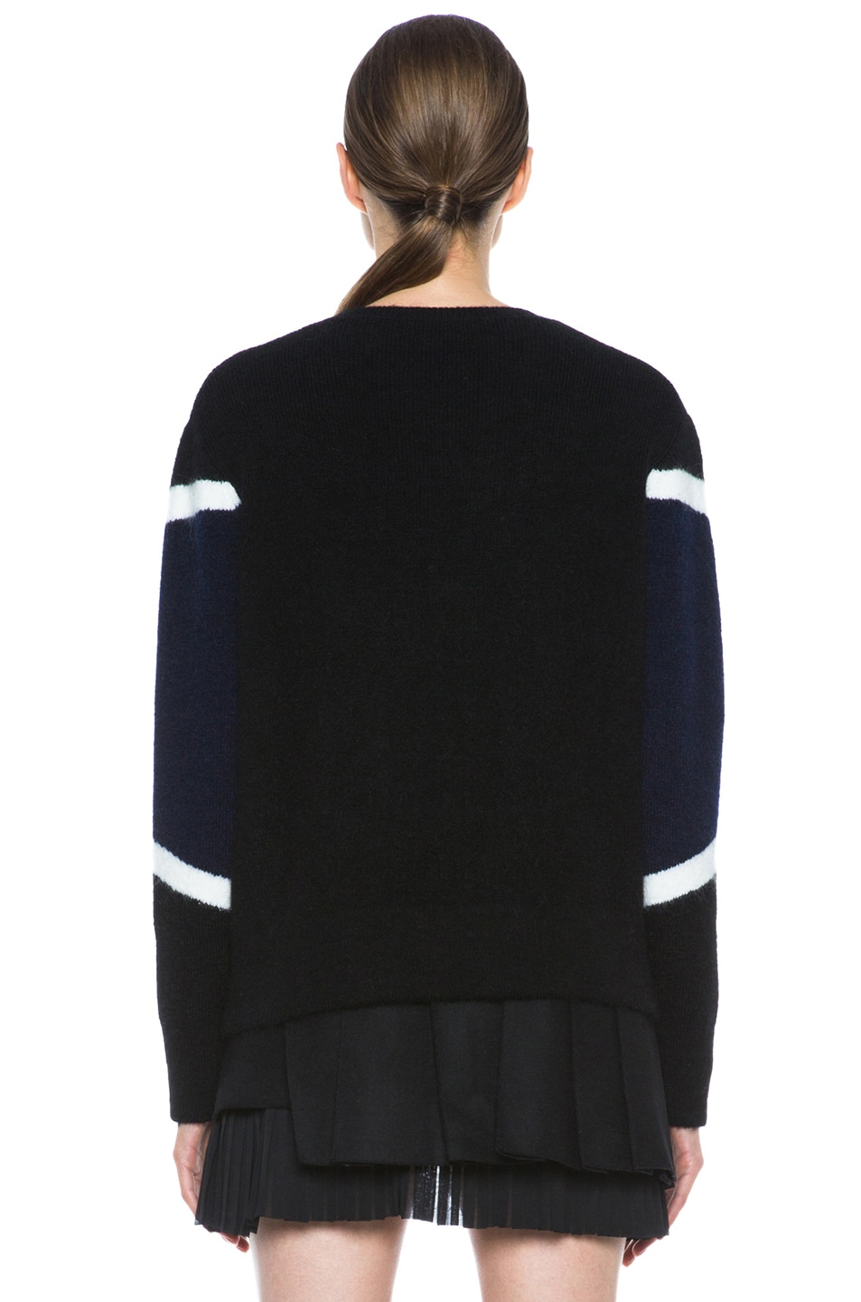 Image 4 of Neil Barrett Modernist Mohair-Blend Crew Neck Knit in Black & Navy