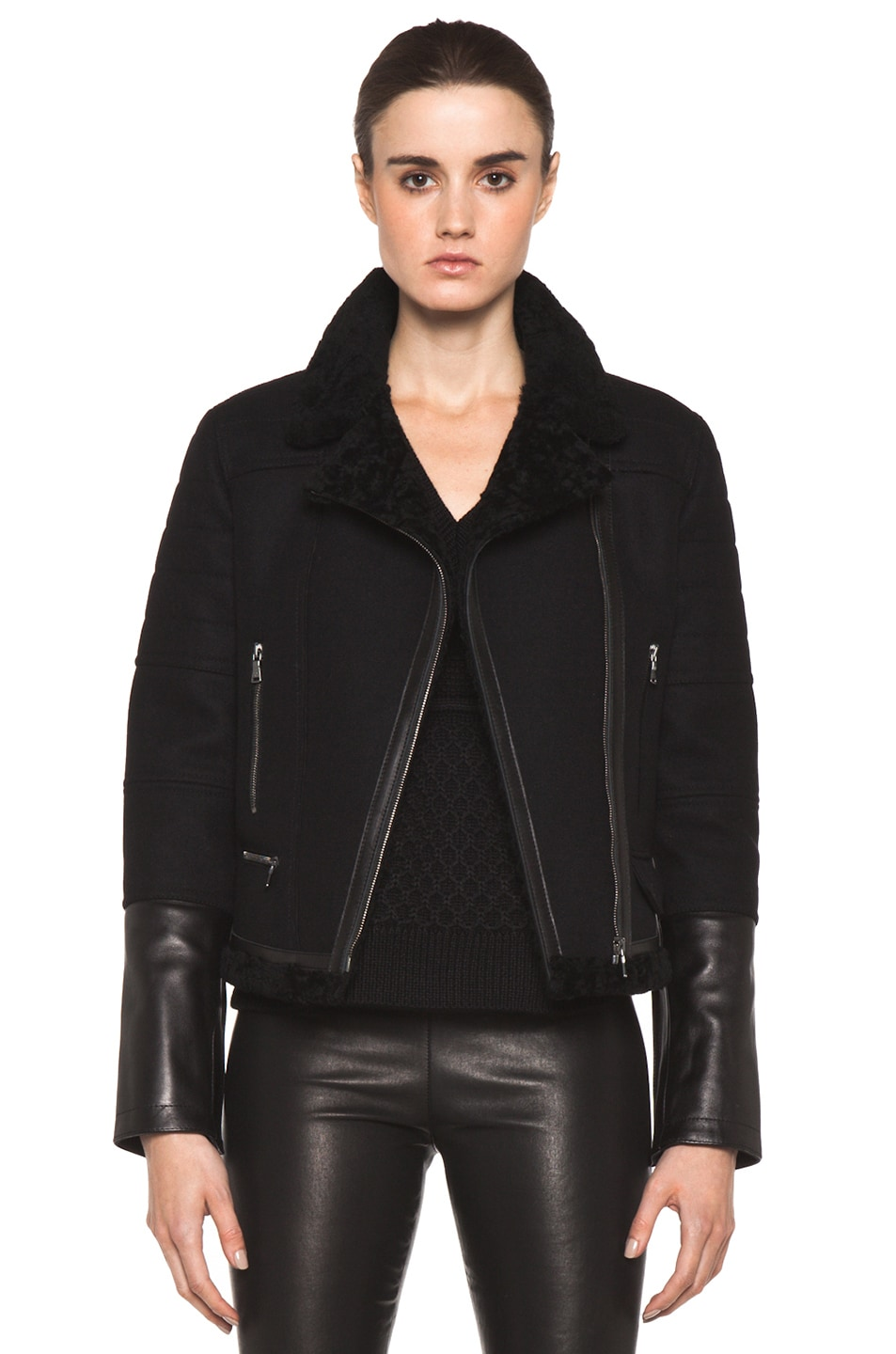 Image 1 of Neil Barrett Shearling Biker Jacket in Black