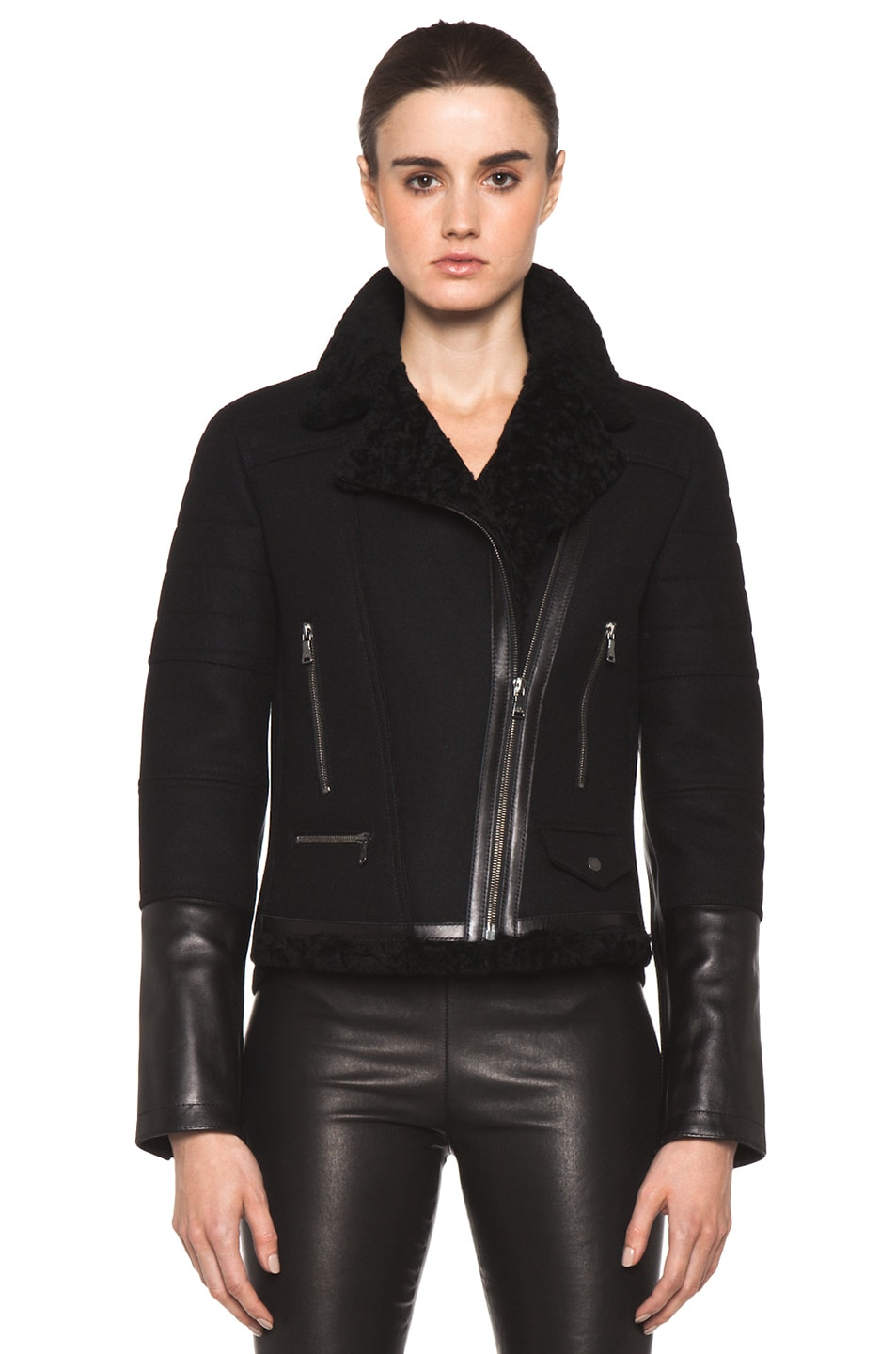 Image 2 of Neil Barrett Shearling Biker Jacket in Black