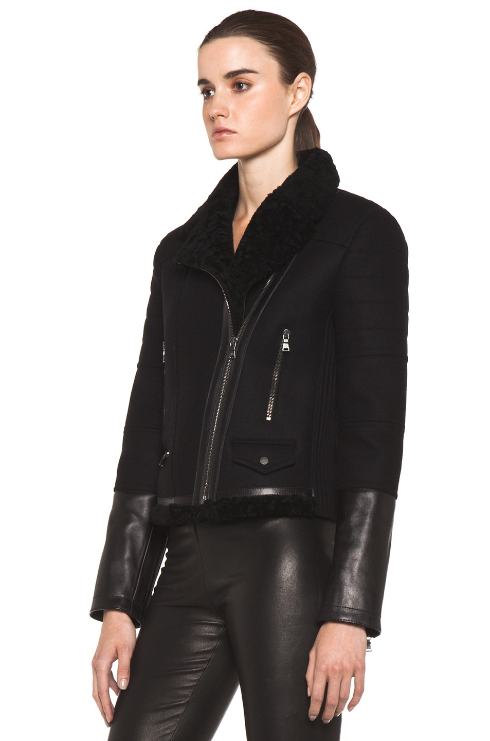 Image 3 of Neil Barrett Shearling Biker Jacket in Black