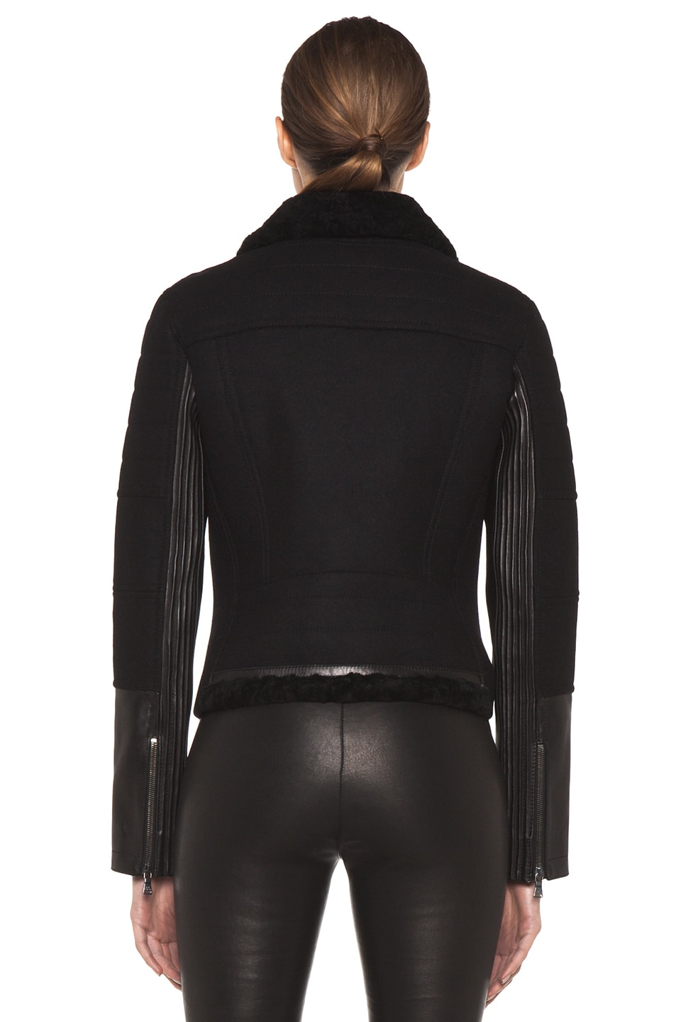 Image 5 of Neil Barrett Shearling Biker Jacket in Black
