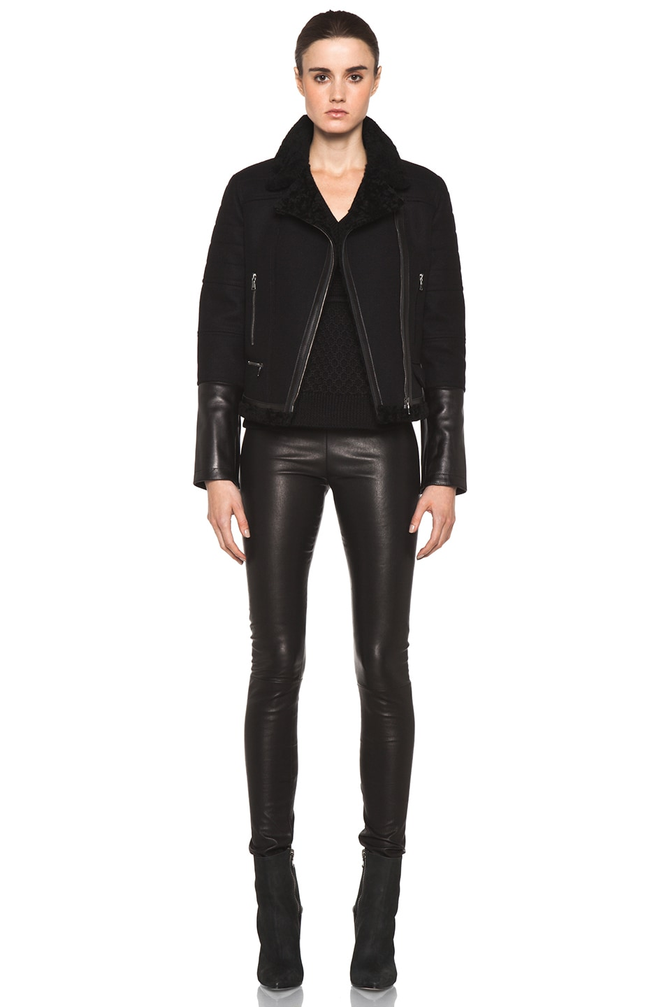 Image 6 of Neil Barrett Shearling Biker Jacket in Black