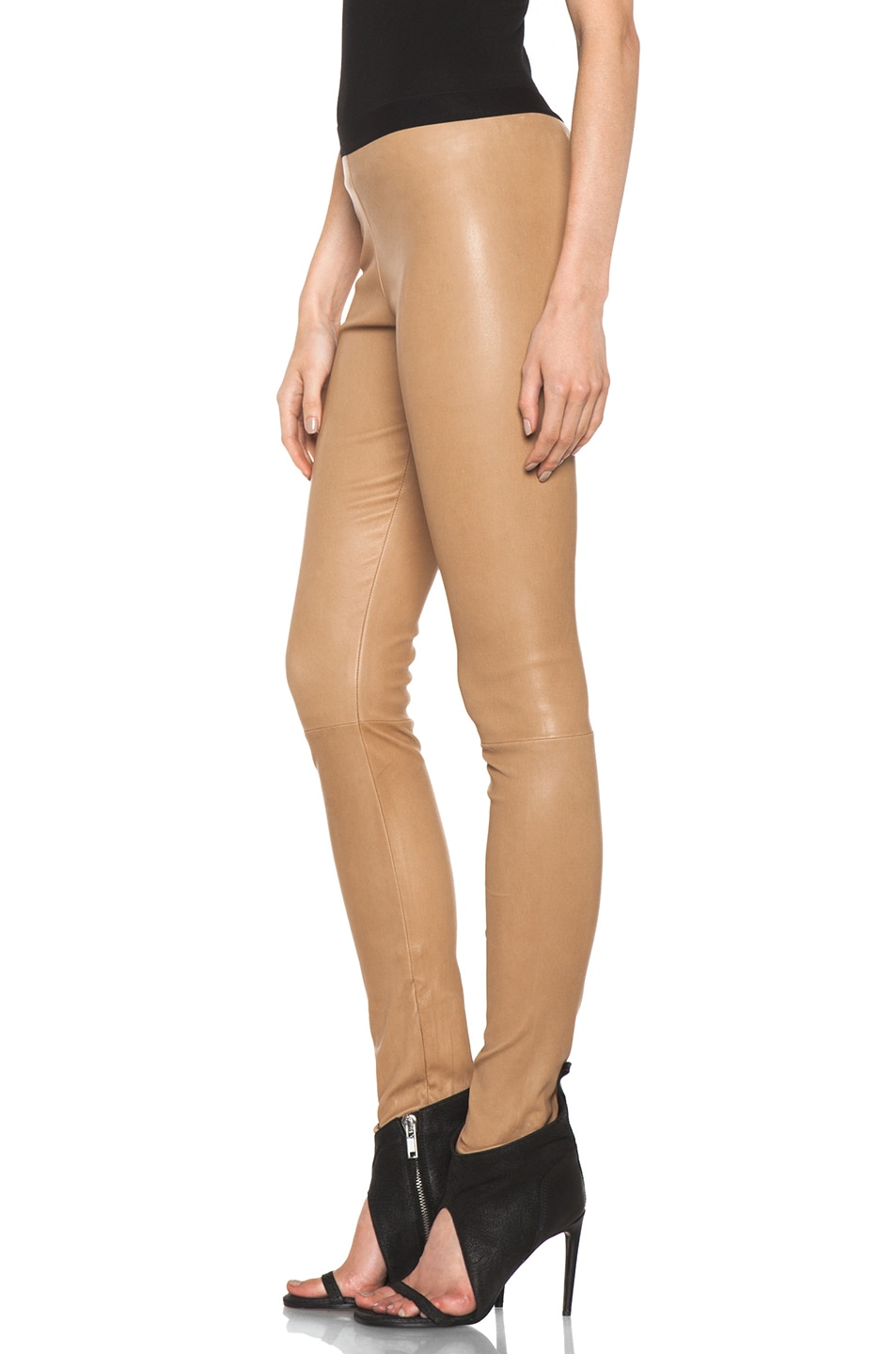 Image 2 of Neil Barrett Leather Leggings in Camel