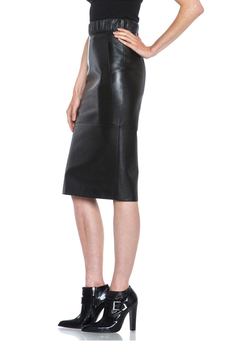 Image 2 of Neil Barrett Lambskin Leather Pencil Skirt in Black