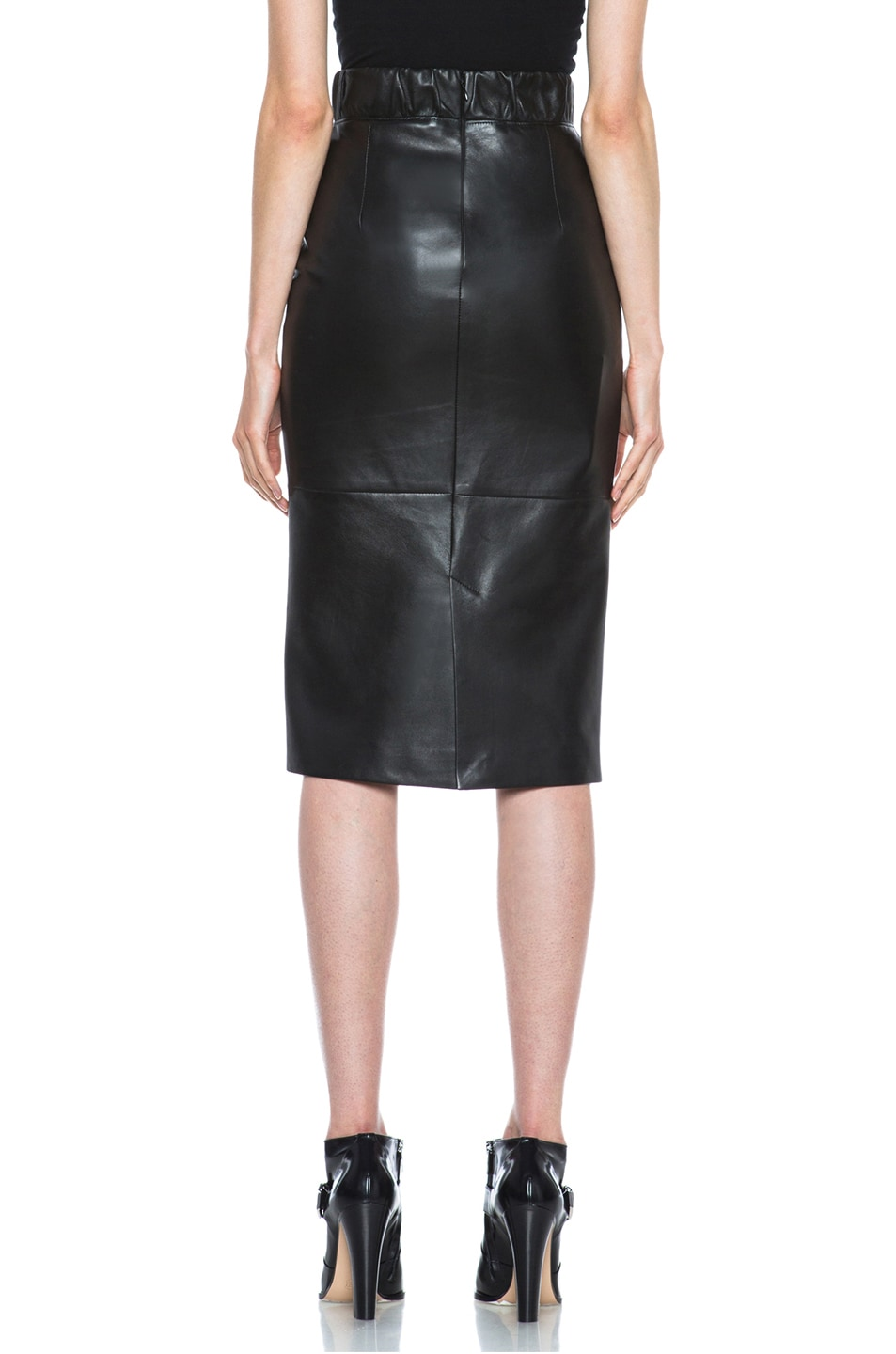Image 4 of Neil Barrett Lambskin Leather Pencil Skirt in Black