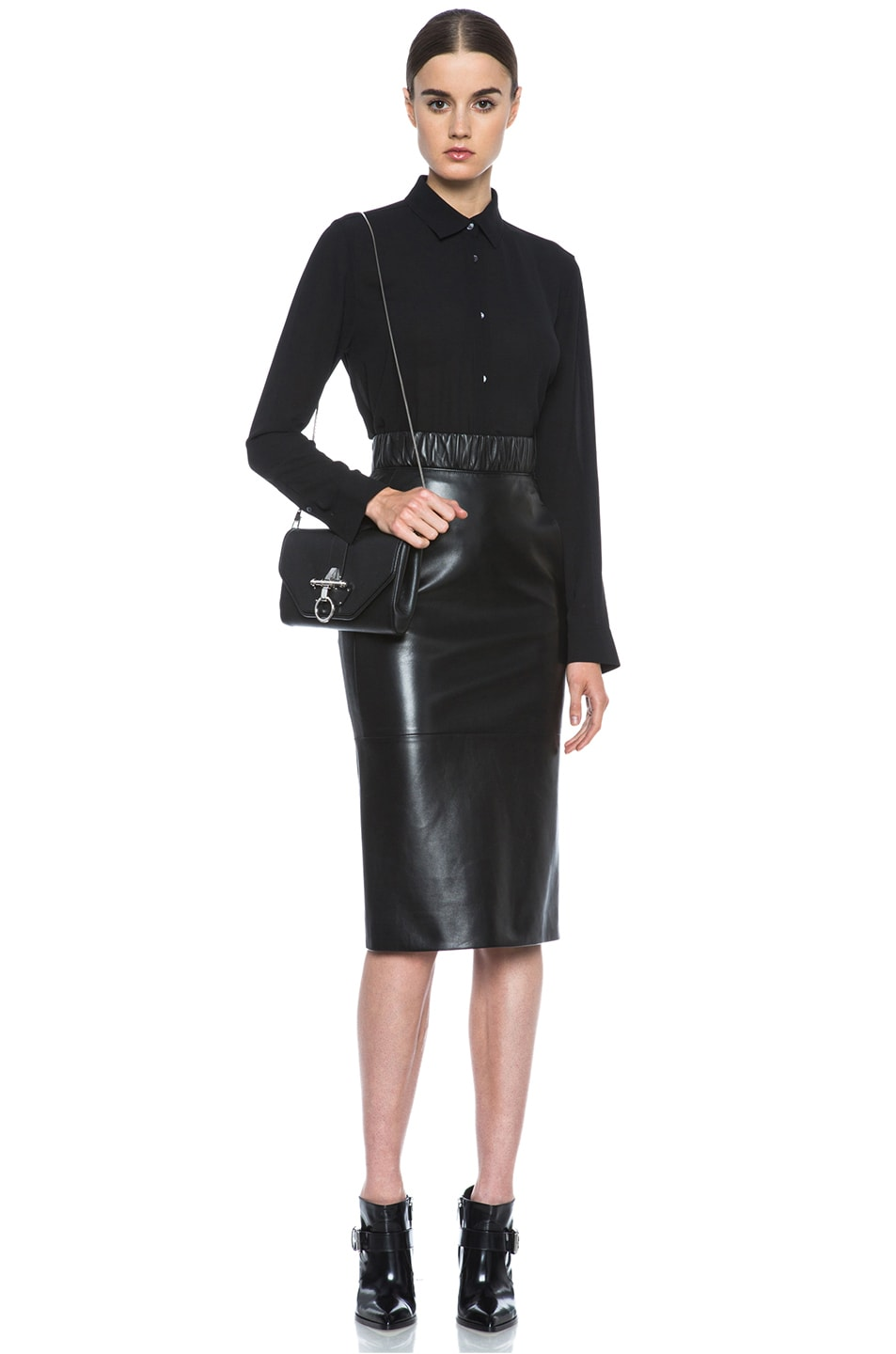 Image 5 of Neil Barrett Lambskin Leather Pencil Skirt in Black