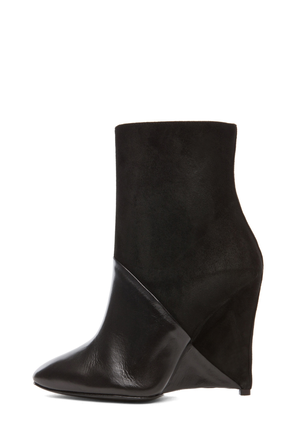 Image 1 of Neil Barrett White Dijon Suede Bootie in Black