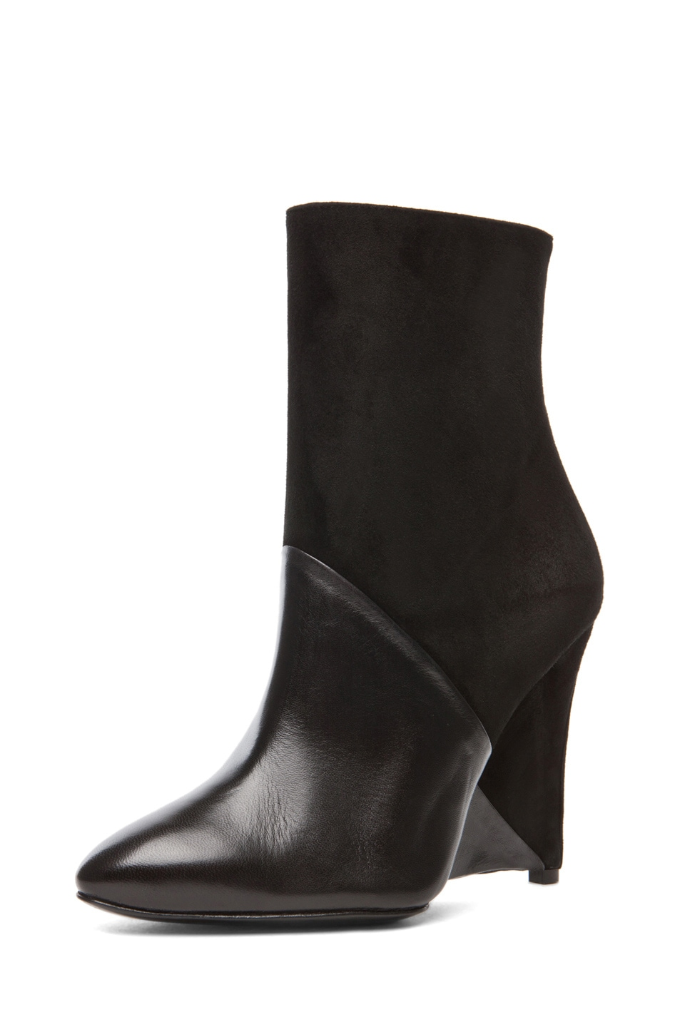 Image 2 of Neil Barrett White Dijon Suede Bootie in Black