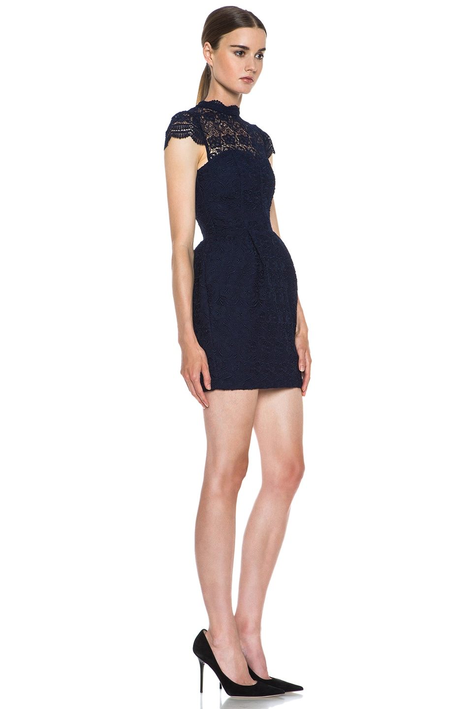 Image 3 of NICHOLAS Ivy Lace Knit Corset Dress in Navy